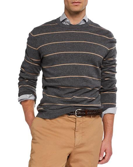Brunello Cucinelli Men's Wide-Striped Cashmere Sweater