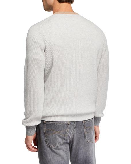 Brunello Cucinelli Men's Colorblock-Trim V-Neck Cashmere Sweater