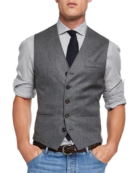 Brunello Cucinelli Men's Wool Flannel Gilet Vest