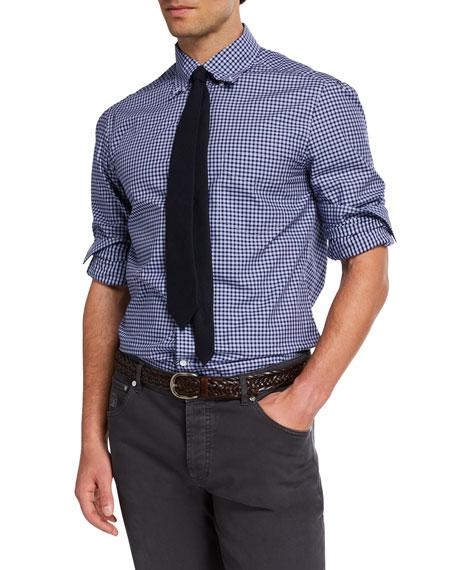 Brunello Cucinelli Men's Basic-Fit Check Sport Shirt