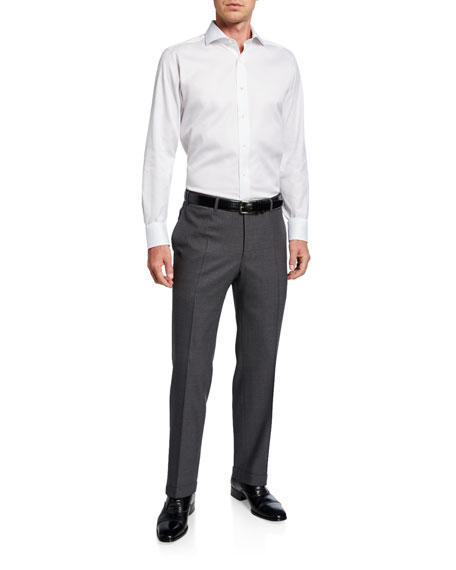 Image 3 of 3: Canali Men's Impeccable Serge Wool Pants, Gray