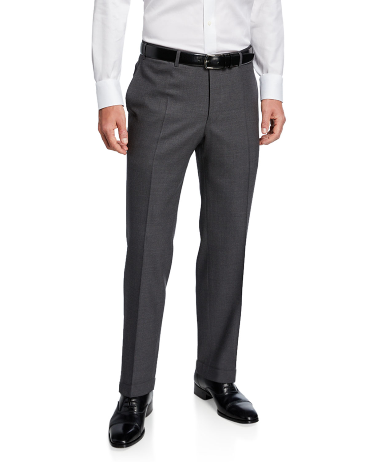 Canali Men's Impeccable Serge Wool Pants, Gray