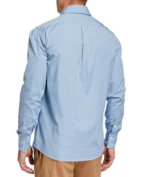 Brunello Cucinelli Men's Mini Stripe Sport Shirt