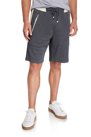 Brunello Cucinelli Men's Colorblock Knit Bermuda Shorts