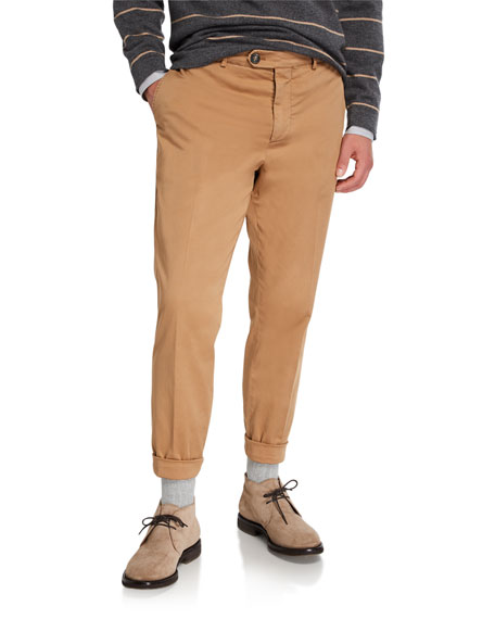 Brunello Cucinelli Men's Basic-Fit Chino Pants
