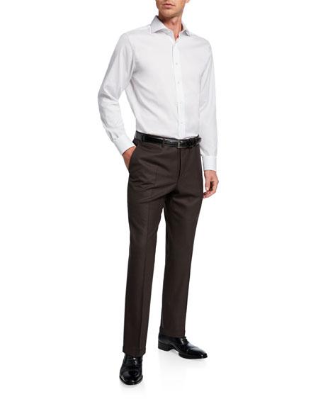 Canali Men's Impeccabile Serge Wool Pants, Brown