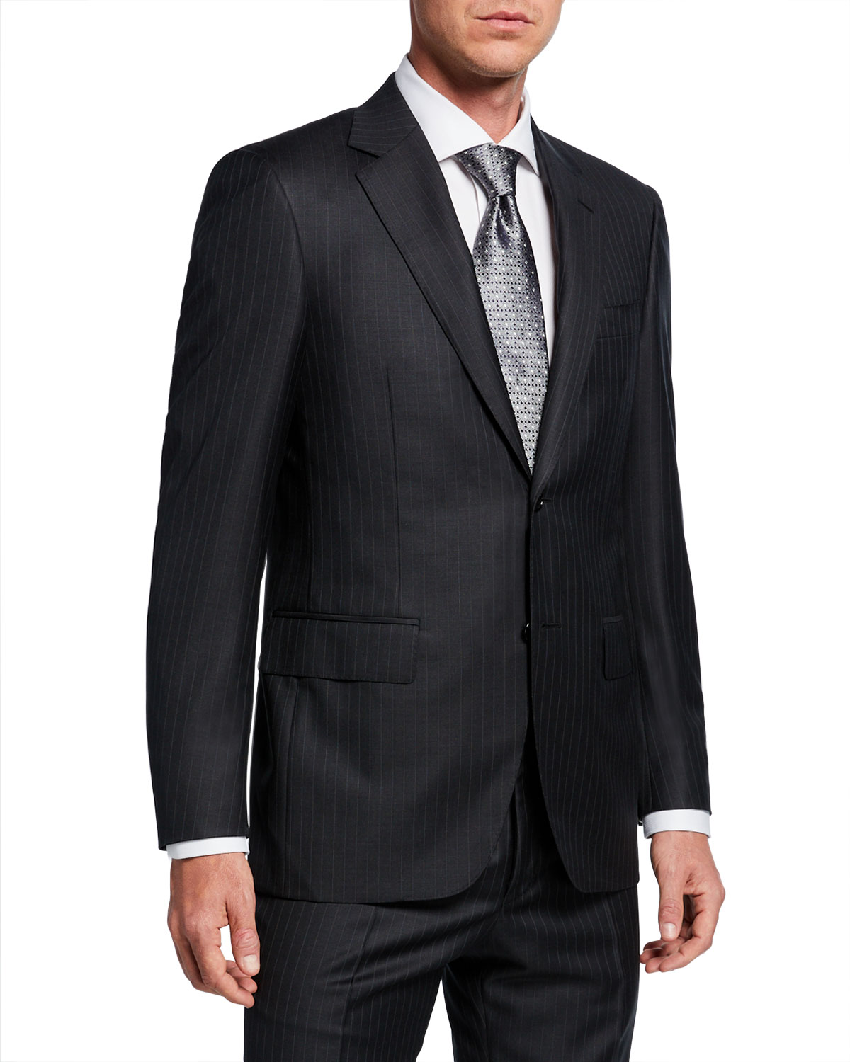 Men's Pinstriped Two Piece Wool Suit by Canali