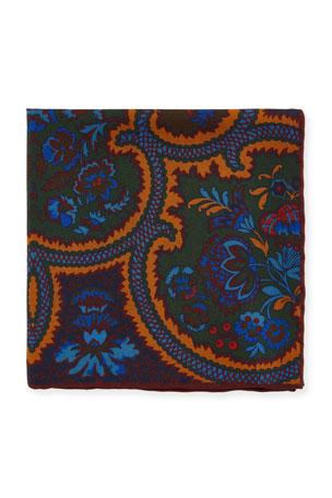 Petronius 1926 Men's Floral Silk Pocket Square