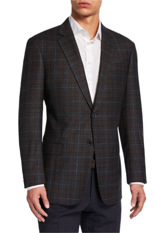 Emporio Armani Men's G-Line Windowpane Check Wool Sport Jacket