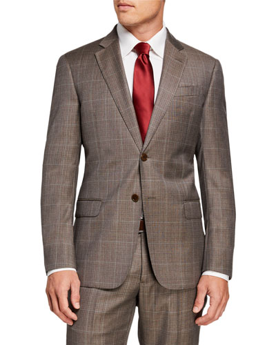 Men's G-Line Windowpane Wool Two-Piece Suit
