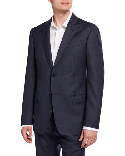 Men's G-Line Tonal Windowpane Wool Two-Piece Suit