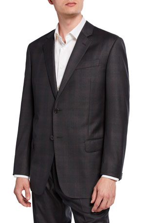 Emporio Armani Men's G-Line Tonal Plaid Wool Two-Piece Suit