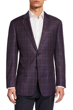 Emporio Armani Men's G-Line Plaid Virgin Wool Sport Jacket
