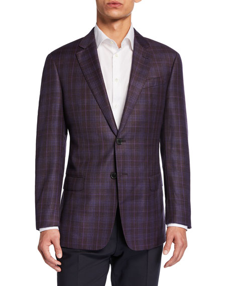 Emporio Armani Men's G-Line Plaid Virgin Wool Sport Jacket