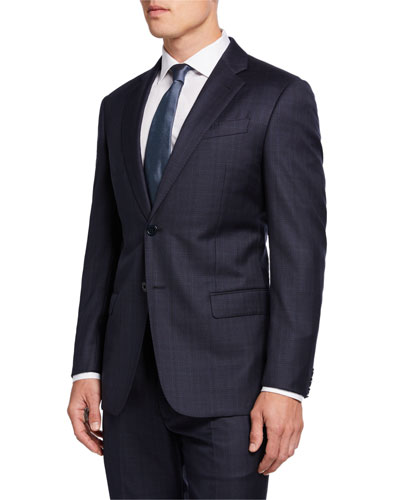 Super G-Line 130s Plaid Wool Two-Piece Suit