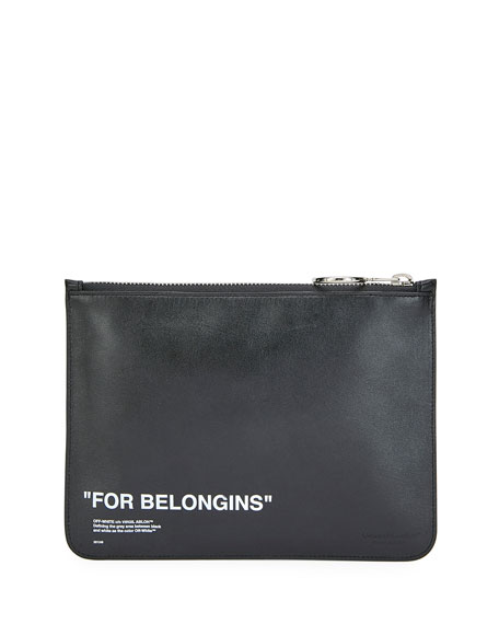 Off-White Men's Leather Quote Pouch