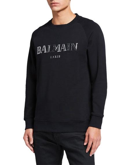 Balmain Men's Metallic Logo Crewneck Sweatshirt