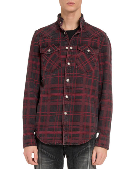 Balmain Men's Plaid Stonewashed Denim Sport Shirt