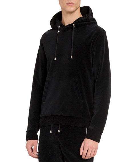 Balmain Men's Velvet Side-Zip Hoodie
