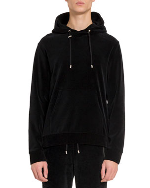 21a8218f Balmain Men's Velvet Side-Zip Hoodie