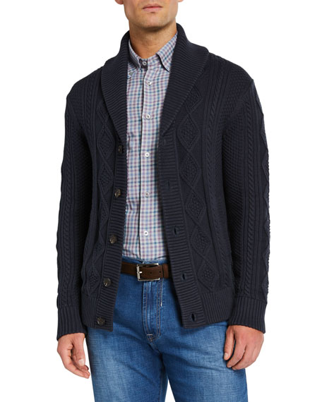 Neiman Marcus Knits Men's Organic Cotton Cable-Knit Cardigan Sweater