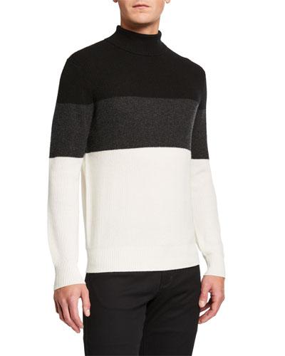 Men's Colorblock Cashmere Turtleneck Sweater