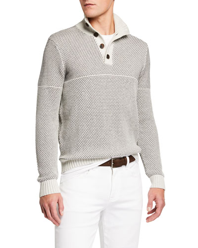 Men's Contrast-Stitch Pullover Sweater