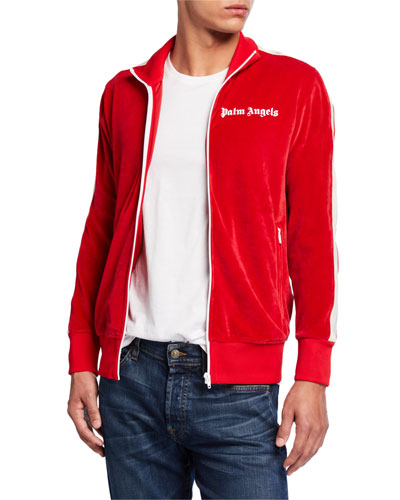 Men's Logo-Embroidered Chenille Track Jacket