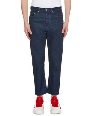 d3db04fa33 Valentino Men's Logo-Pocket Straight-Leg Jeans