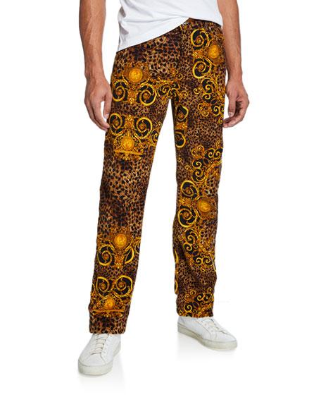 Versace Jeans Couture Men's Leo Baroque Velvet Jeans