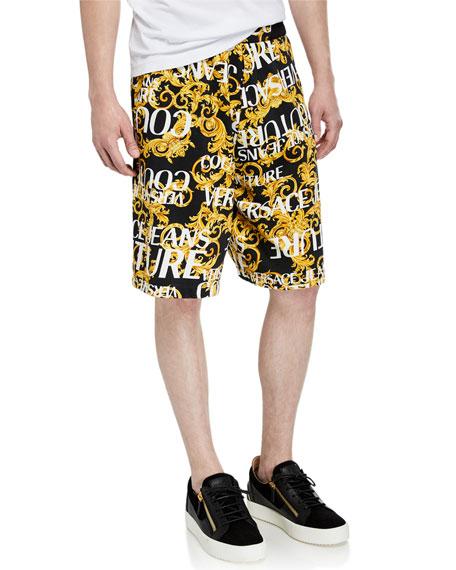 Versace Jeans Couture Men's Logo Baroque Fleece Shorts