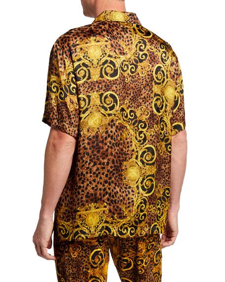 Versace Jeans Couture Men's Leopard Baroque Short-Sleeve Sport Shirt