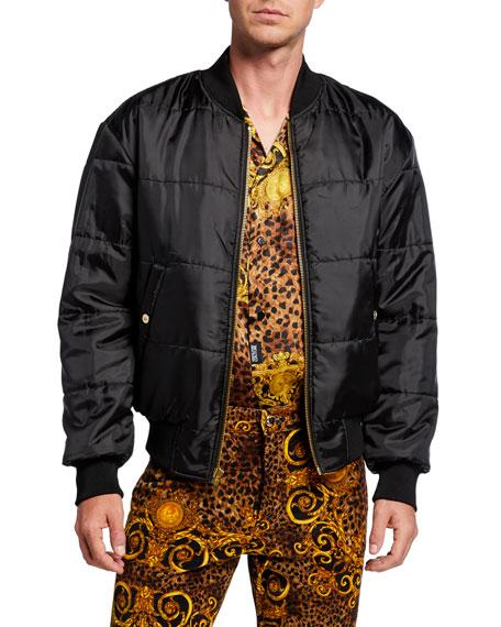 Versace Jeans Couture Men's Leopard Baroque Reversible Bomber Jacket