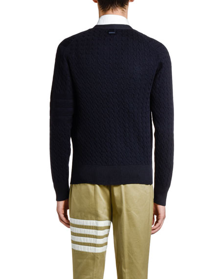 Thom Browne Men's Cable-Knit Wool Cardigan