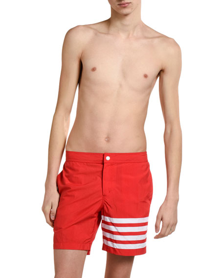 Thom Browne Men's Four-Stripe Swim Trunks