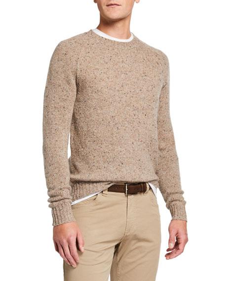 Neiman Marcus Men's Donegal Crewneck Raglan-Sleeve Sweater
