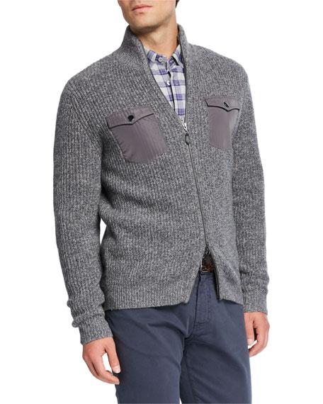 Neiman Marcus Men's Melange Cashmere Two-Way Zip Sweater