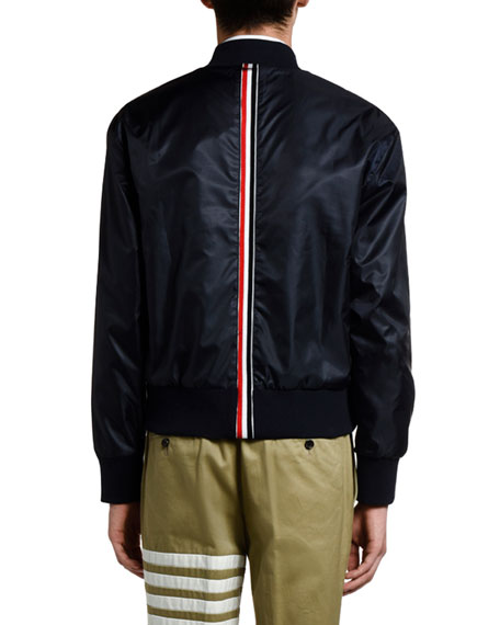 Thom Browne Men's Nylon Satin Bomber Jacket