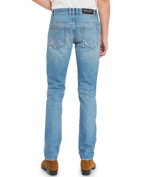 Balmain Men's Distressed Slim-Fit Logo Jeans