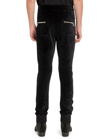 Balmain Men's Velvet Moto Sweatpants