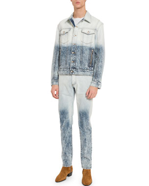 eae081db Balmain Men's Distressed Acid-Wash Denim Jacket
