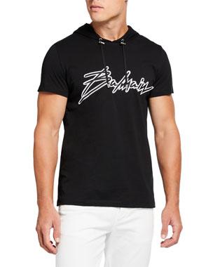 ff76a99e3e5509 Balmain Men's Signature Logo Graphic T-Shirt w/ Hood