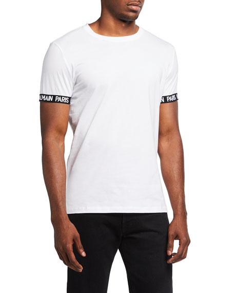 Balmain Men's Crewneck T-Shirt w/ Logo Print