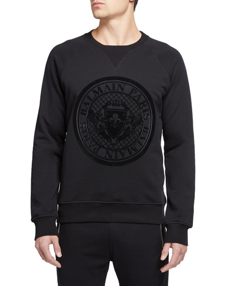 Balmain Men's Coin Logo Graphic Sweater