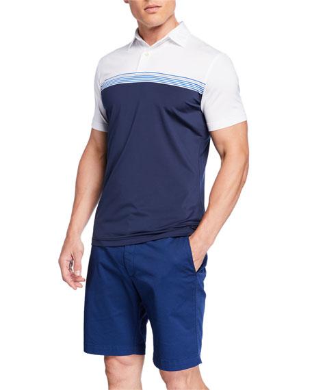 Peter Millar Men's Tour Fit Engineered Stripe Stretch Jersey Polo Shirt