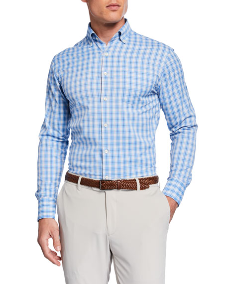 Peter Millar Men's Performance Check Sport Shirt with Pocket
