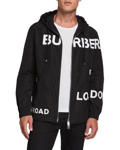 Burberry Men's Logo Typographic Nylon Jacket