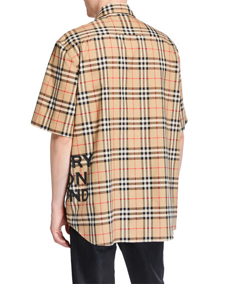 Burberry Men's Sandor Check Short-Sleeve Shirt