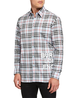 c790961c Burberry Men's Sandor Check Long-Sleeve Sport Shirt