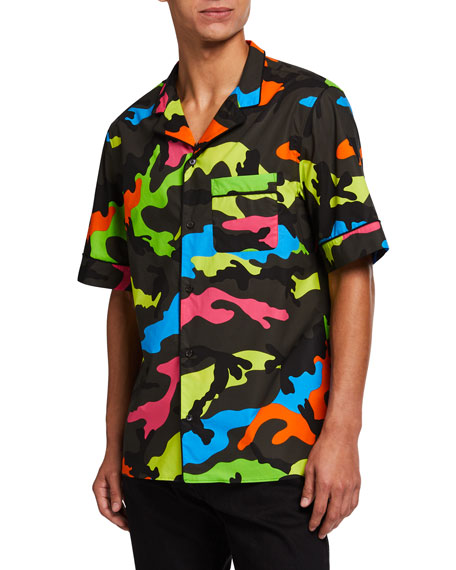 Valentino Men's Neon Camo-Print Army Camp Shirt